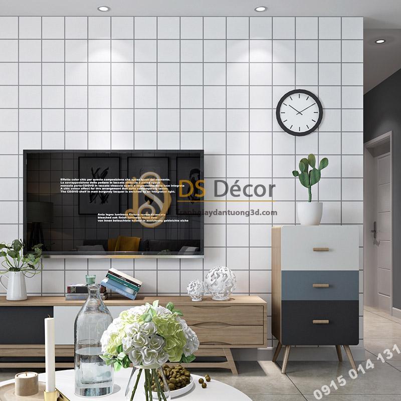 Giấy dán tường caro ô vuông trắng 3D088 trang trí phòng khách