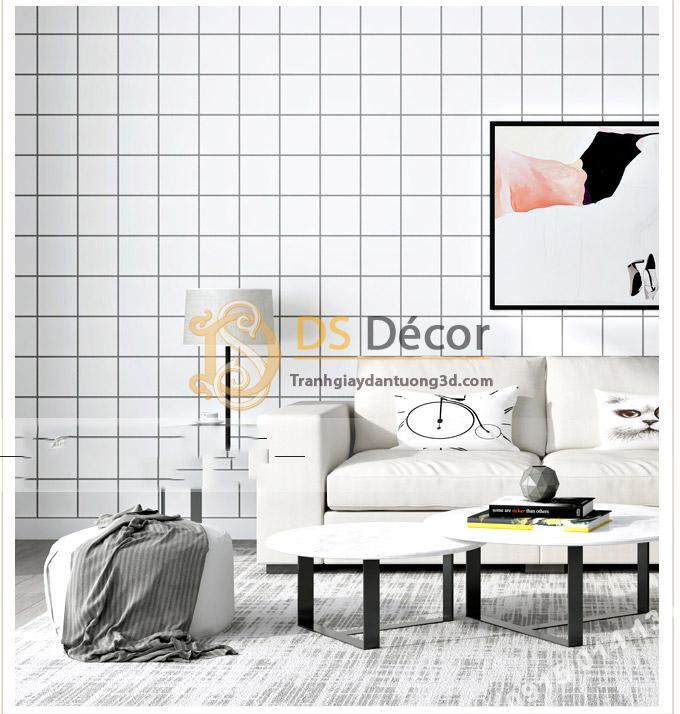 Giấy dán tường caro ô vuông trắng 3D088 kết hợp ghế sofa và tranh treo đồng màu