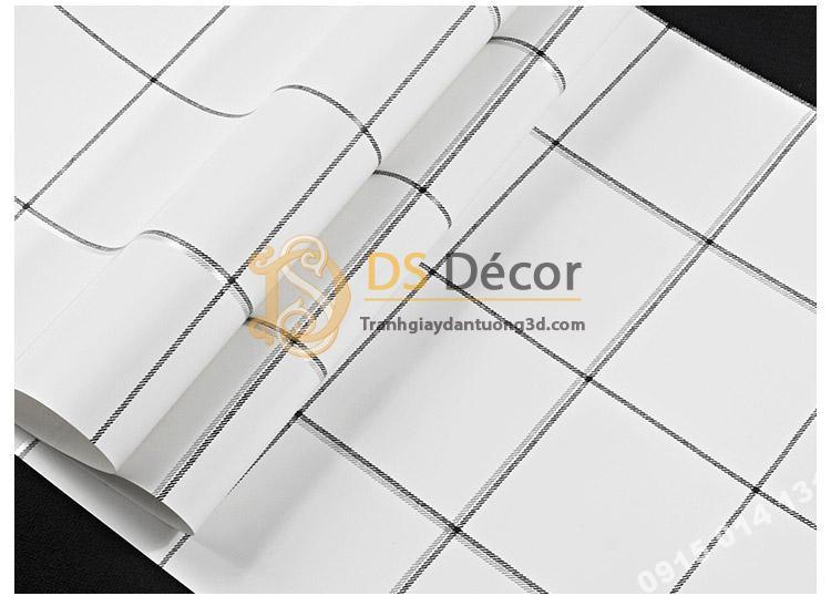 Bề mặt Giấy dán tường caro ô vuông trắng 3D088