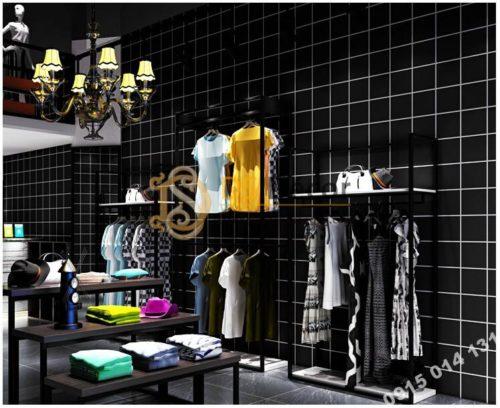 Giấy-dán-tường-caro-ô-vuông-trắng-3D088-màu đen