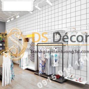 Giấy-dán-tường-caro-ô-vuông-trắng-3D088-trang trí shop quần áo
