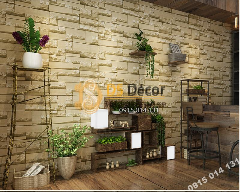 Giấy Dán Tường 3D Giả Gạch Đá 3D080 màu be trang trí quán cà phê