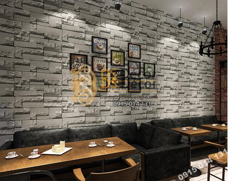 Giấy Dán Tường 3D Giả Gạch Đá 3D080 màu ghi trang trí cửa hàng trà sữa, cà phê ...