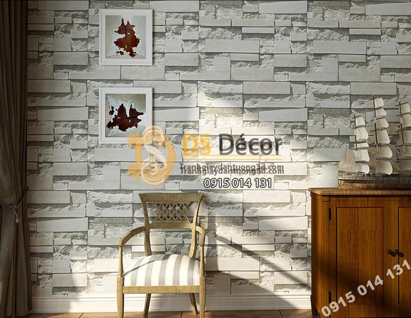 Giấy Dán Tường 3D Giả Gạch Đá 3D080 màu trắng tại phòng khách
