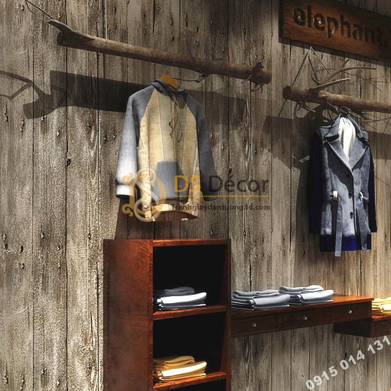 Giấy dán tường giả vân gỗ cổ 3D087 sử dụng trong shop bán thời trang