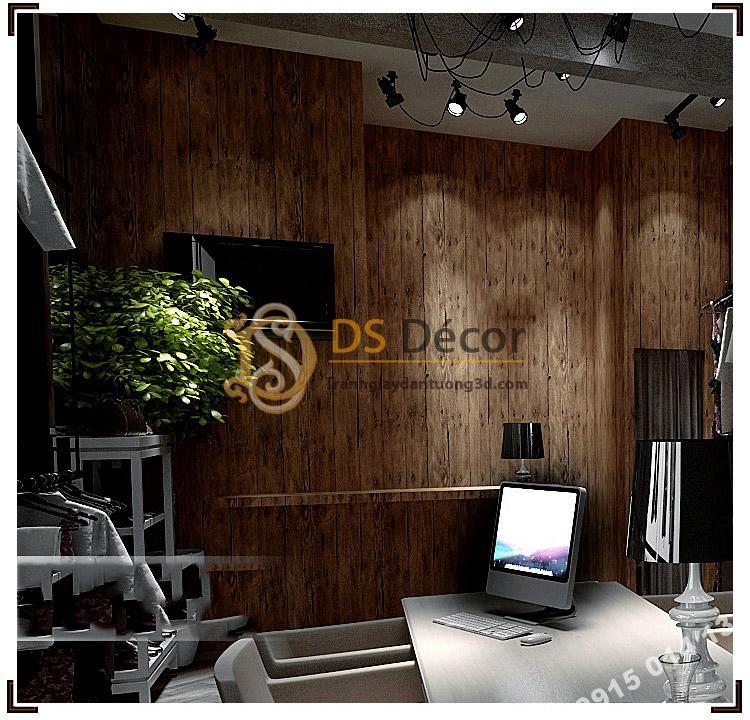 Giấy dán tường giả vân gỗ cổ 3D087 trang trí phòng làm việc