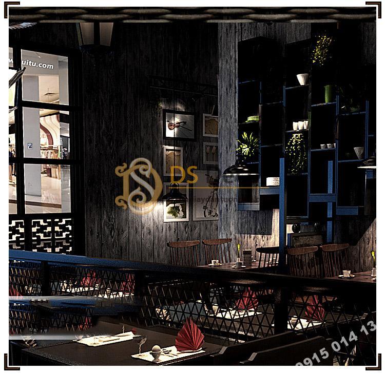 Giấy dán tường giả vân gỗ cổ 3D087 trang trí quán ăn nhỏ
