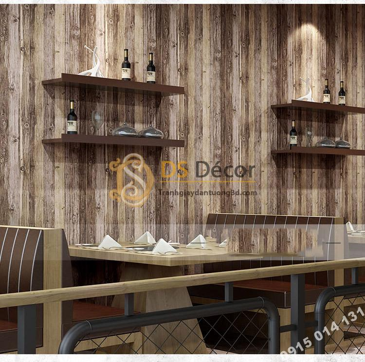 Giấy dán tường giả vân gỗ cổ 3D087 màu sáng trang trí quán rượu