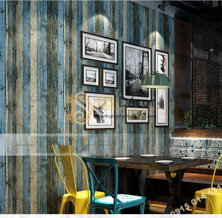 Giấy dán tường giả vân gỗ cổ 3D087 màu xanh