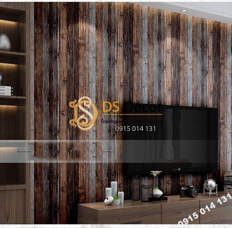 Giấy dán tường giả vân gỗ cổ 3D087 trang trí phòng khách