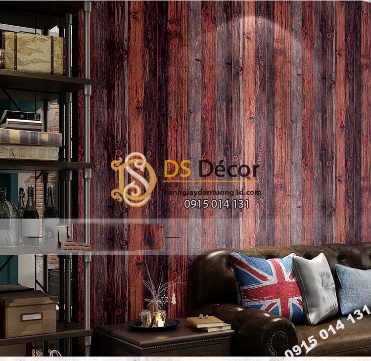 Giấy dán tường giả vân gỗ cổ 3D087 màu nâu đỏ