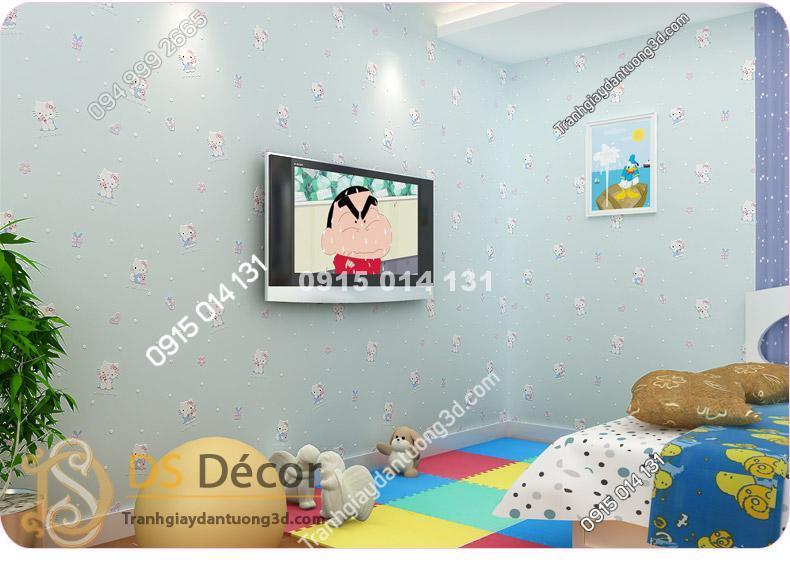 Giấy Dán Tường Mèo Hello Kitty màu xanh đậm