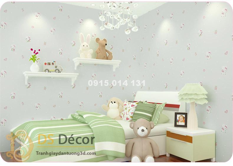 Giấy Dán Tường Mèo Hello Kitty màu trắng
