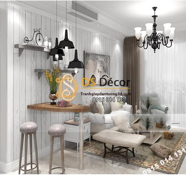 Giấy dán tường giả gỗ phong cách Nostalgia 3D089 trang trí phòng khách