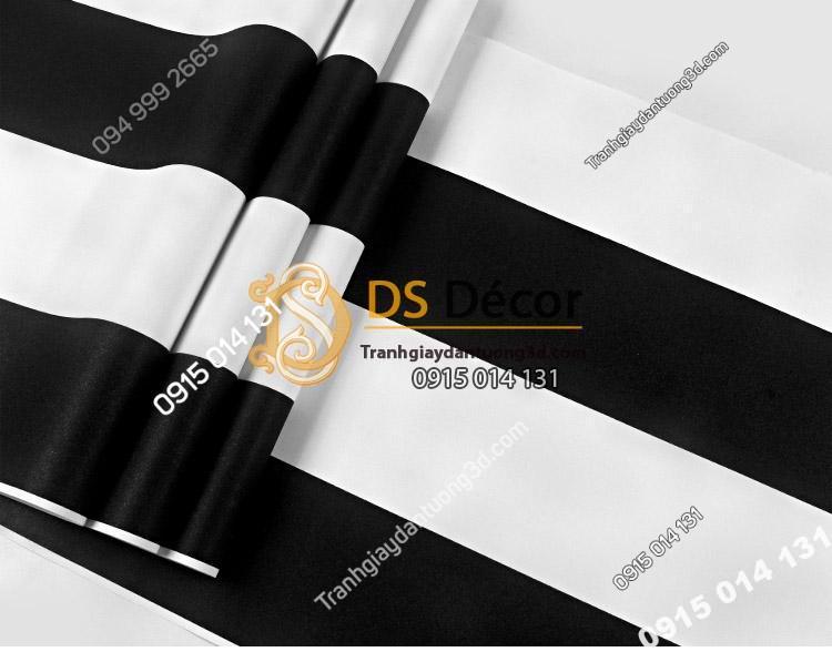 Bề mặt Giấy dán tường sọc đen trắng hiện đại 3D086