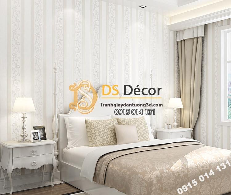 Giấy dán tường sọc dọc phối dây leo 3D084 màu trắng trang trí phòng ngủ