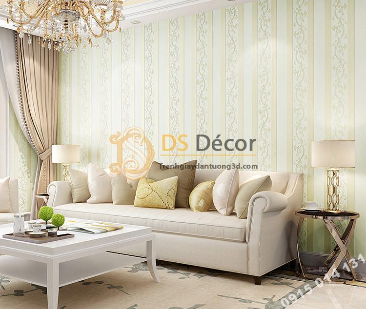 Giấy dán tường sọc dọc phối dây leo 3D084 màu be trang trí phòng khách