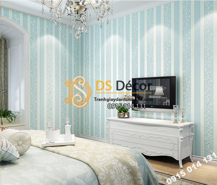 Giấy dán tường sọc dọc phối dây leo 3D084 màu xanh blue trang trí phòng ngủ