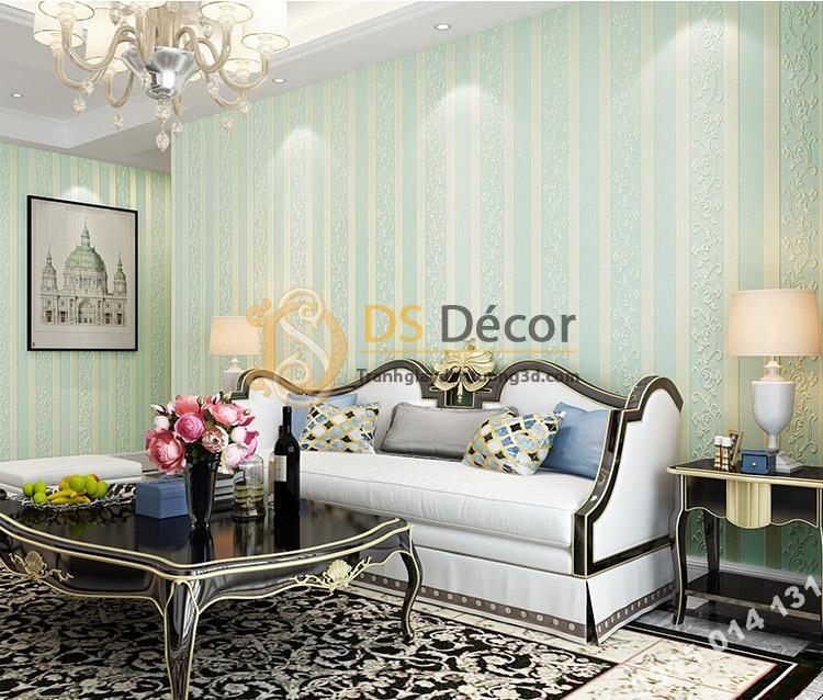 Giấy dán tường sọc dọc phối dây leo 3D084 màu vàng xanh trang trí phòng khách sang trọng