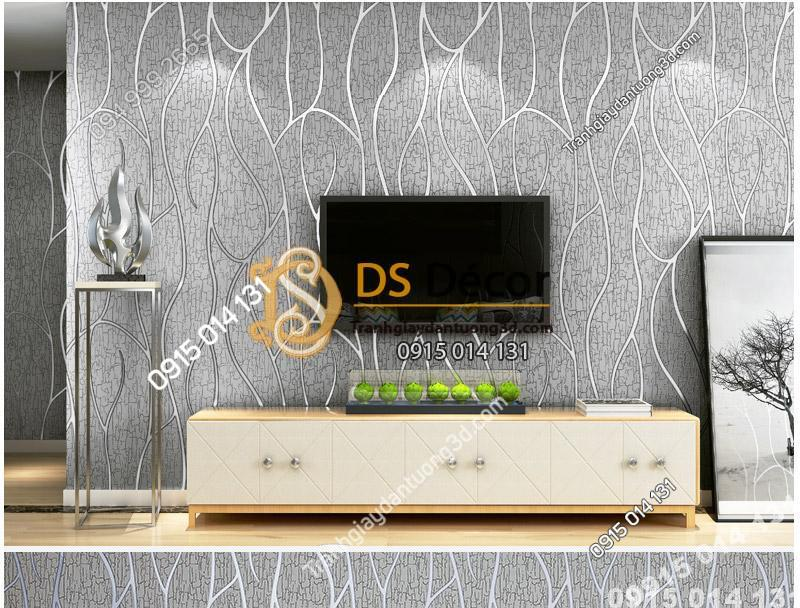 Phòng khách sang trọng với Giấy Dán Tường Sọc Da Dê Cashmere 3D041