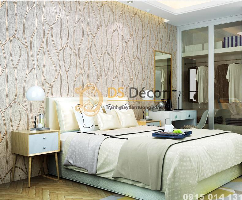 Phòng ngủ sử dụng Giấy Dán Tường Sọc Da Dê Cashmere màu hạnh nhân