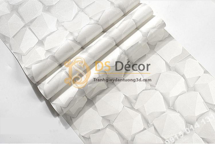 Bề mặt Giấy dán tường hình học 3D mã 3D049 màu trắng