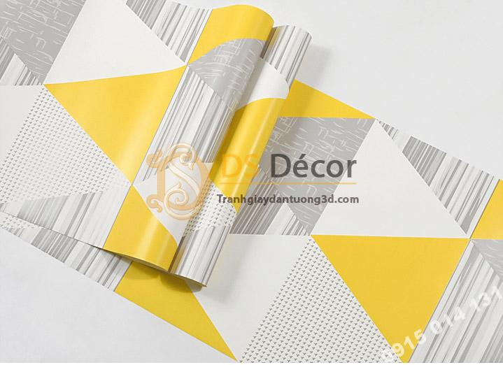 Bề mặt Giấy dán tường họa tiết hình học tam giác 3D091 màu vàng tươi