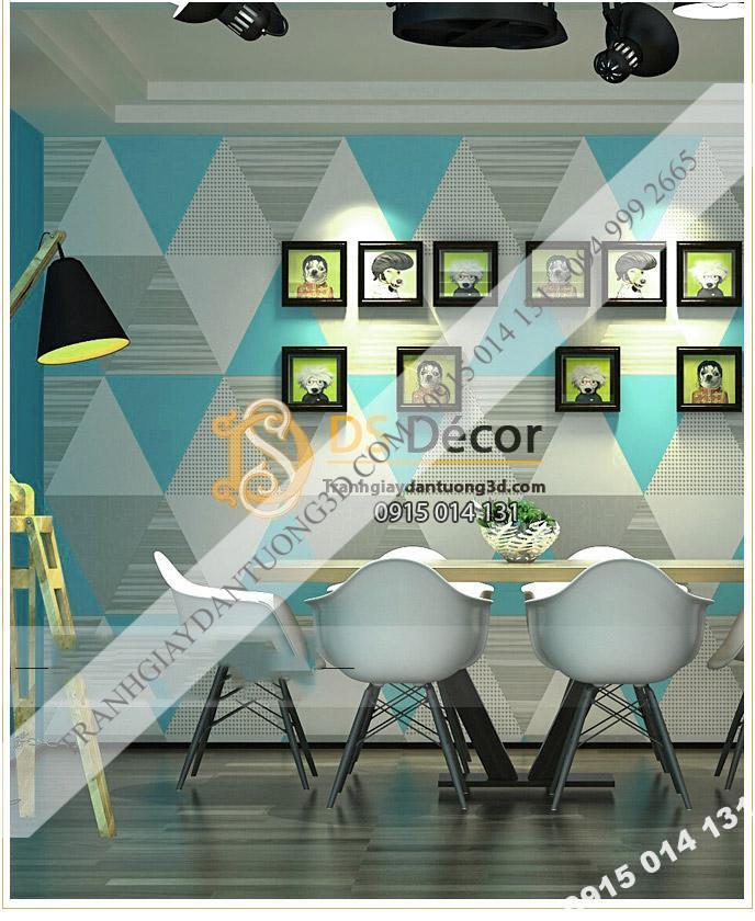 Giấy dán tường họa tiết hình học tam giác 3D091 màu xanh