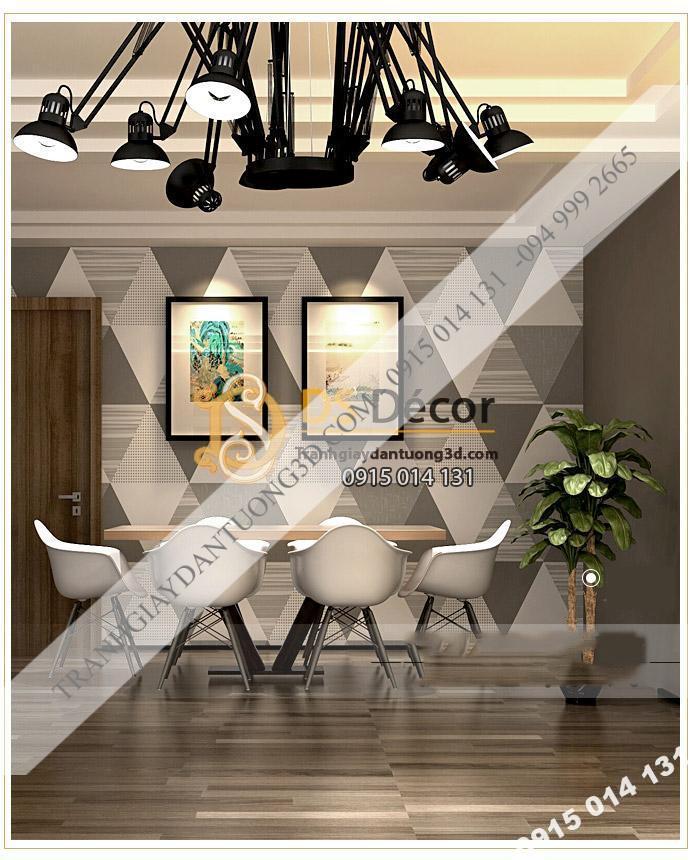 Giấy dán tường họa tiết hình học tam giác 3D091 màu xám