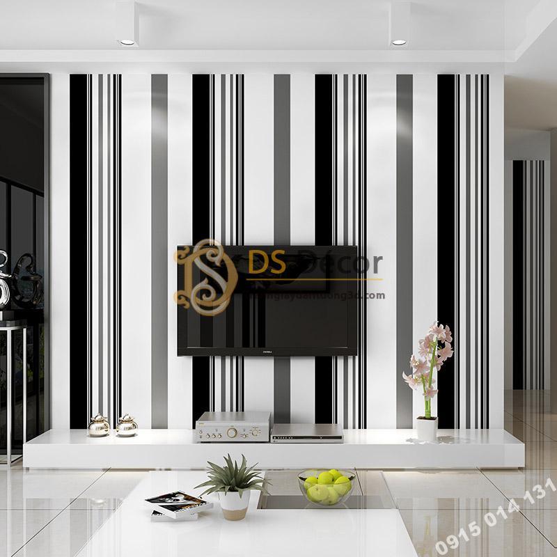 Giấy dán tường kẻ sọc đen trắng 3D092 trang trí phòng khách hiện đại