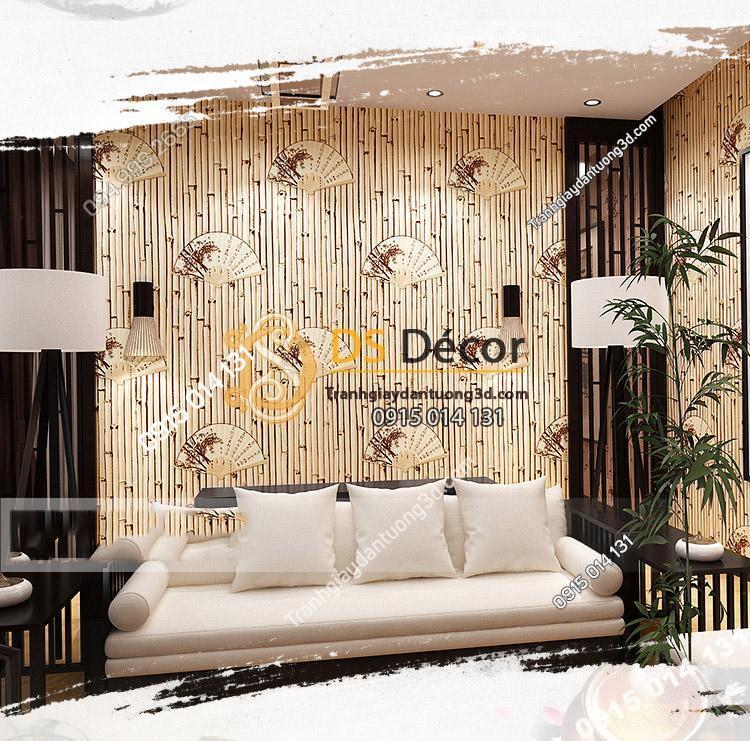 Giấy dán tường tre trúc cổ 3D093 trang trí phòng khách