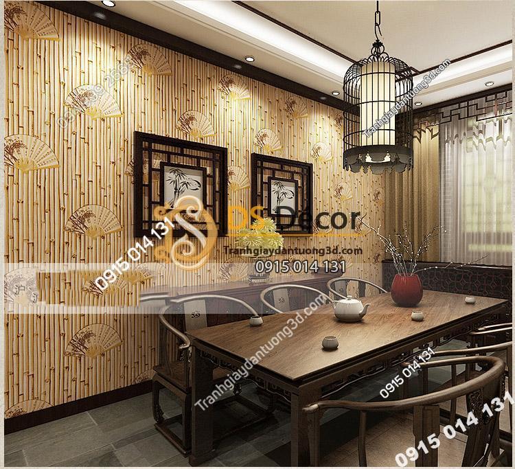 Quán trà phong cách với Giấy dán tường tre trúc cổ 3D093