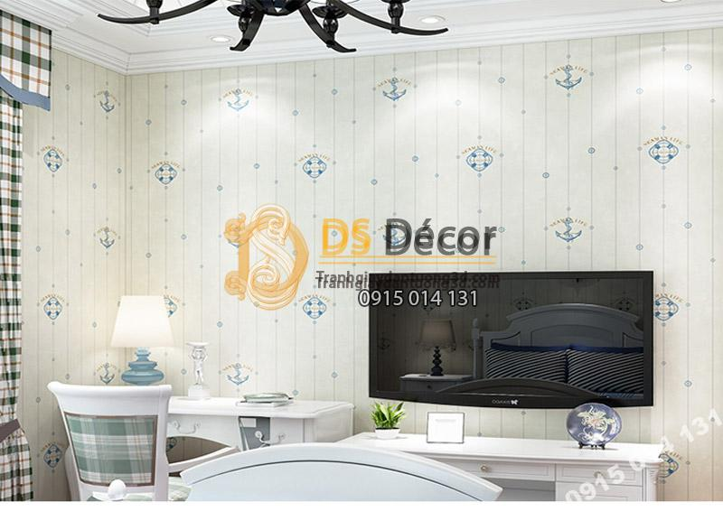 Giấy Dán Tường Họa Tiết Neo Thuyền 3D079 màu trắng trang trí phòng khách