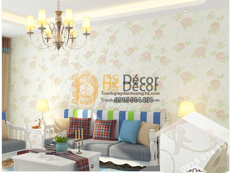Giấy Dán Tường Hoa Hồng Dập Nổi 3D077 tông màu trắng nhẹ nhàng trang trí phòng khách.