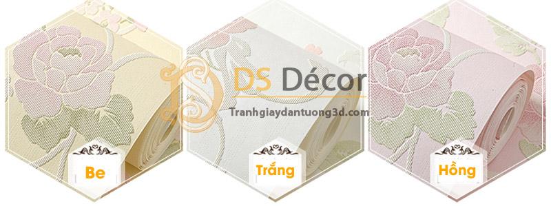 3 màu của mẫu Giấy Dán Tường Hoa Hồng Dập Nổi 3D077