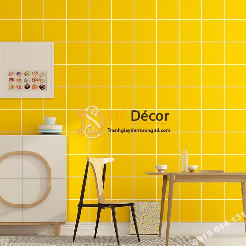 Giấy dán tường caro ô vuông 3D088 màu vàng