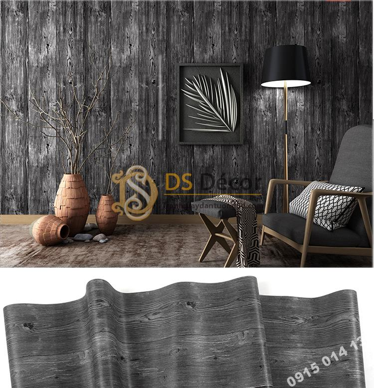 Giấy dán tường giả gỗ màu đen 3D103