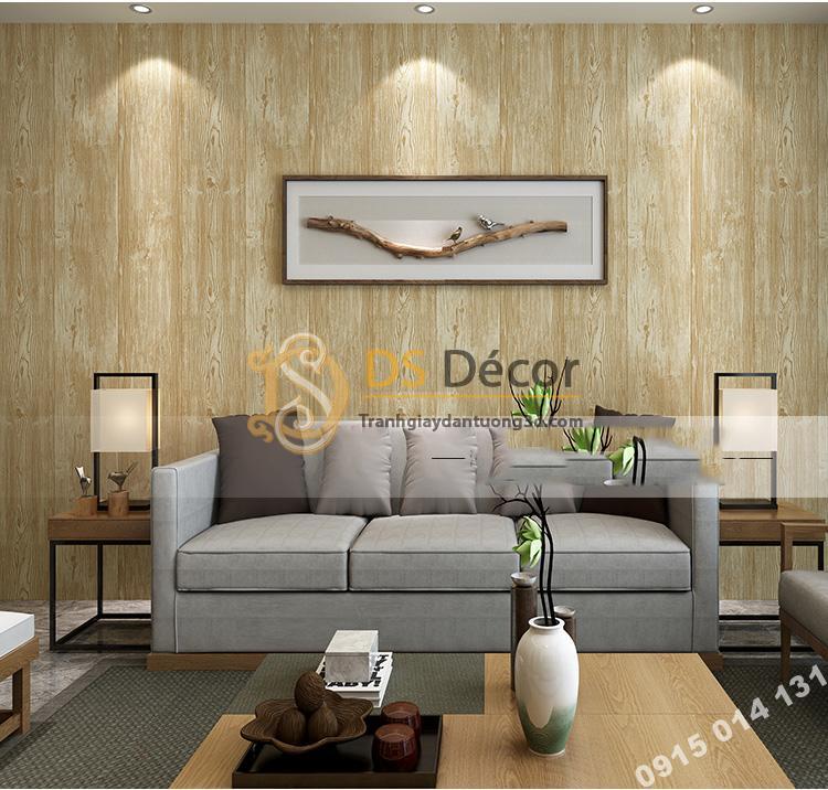 Giấy dán tường giả gỗ màu vàng nhạt 3D103