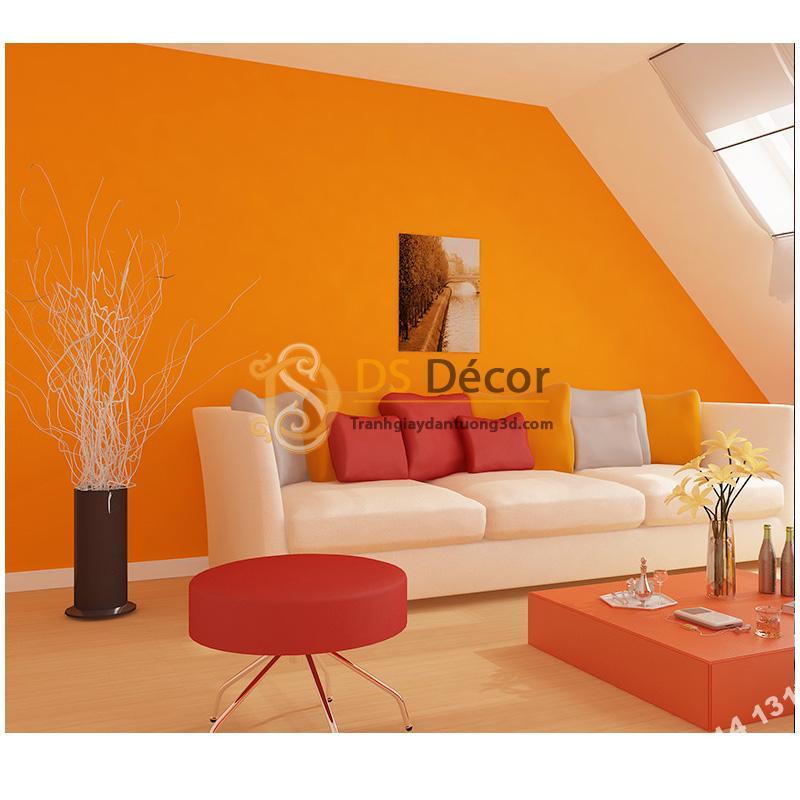 Giấy dán tường một màu da cam 3D104 trang trí phòng khách