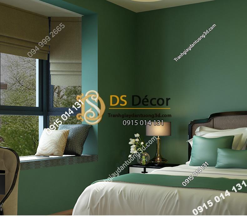 Giấy dán tường một màu xanh 3D104 trang trí phòng ngủ