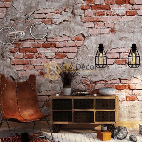 Giấy-dán-tường-quán-cafe-tường-gạch-cổ-3D109-màu đỏ