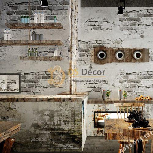 Giấy-dán-tường-quán-cafe-tường-gạch-cổ-3D109-màu-trắng