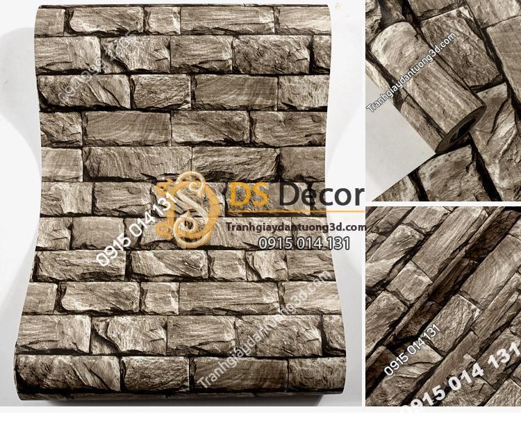 Giấy dán tường giả đá 3D094 màu nâu