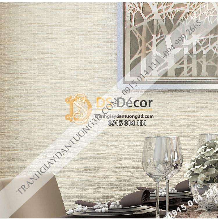 Giấy dán tường giả mành cói 3D095 màu be trang trí phòng ăn nhà hàng