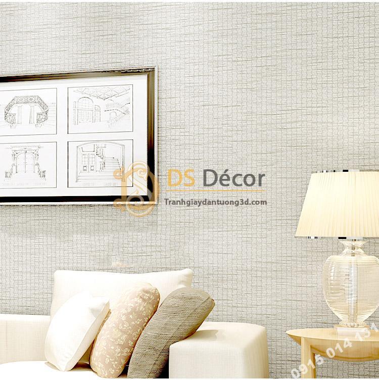 Giấy dán tường giả mành cói 3D095 màu trắng trang trí phòng ngủ