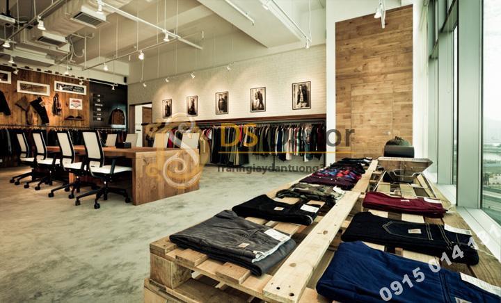 Shop quần áo với Giấy Dán Tường 3D Họa Tiết Giả Gạch Hiện Đại 3D009