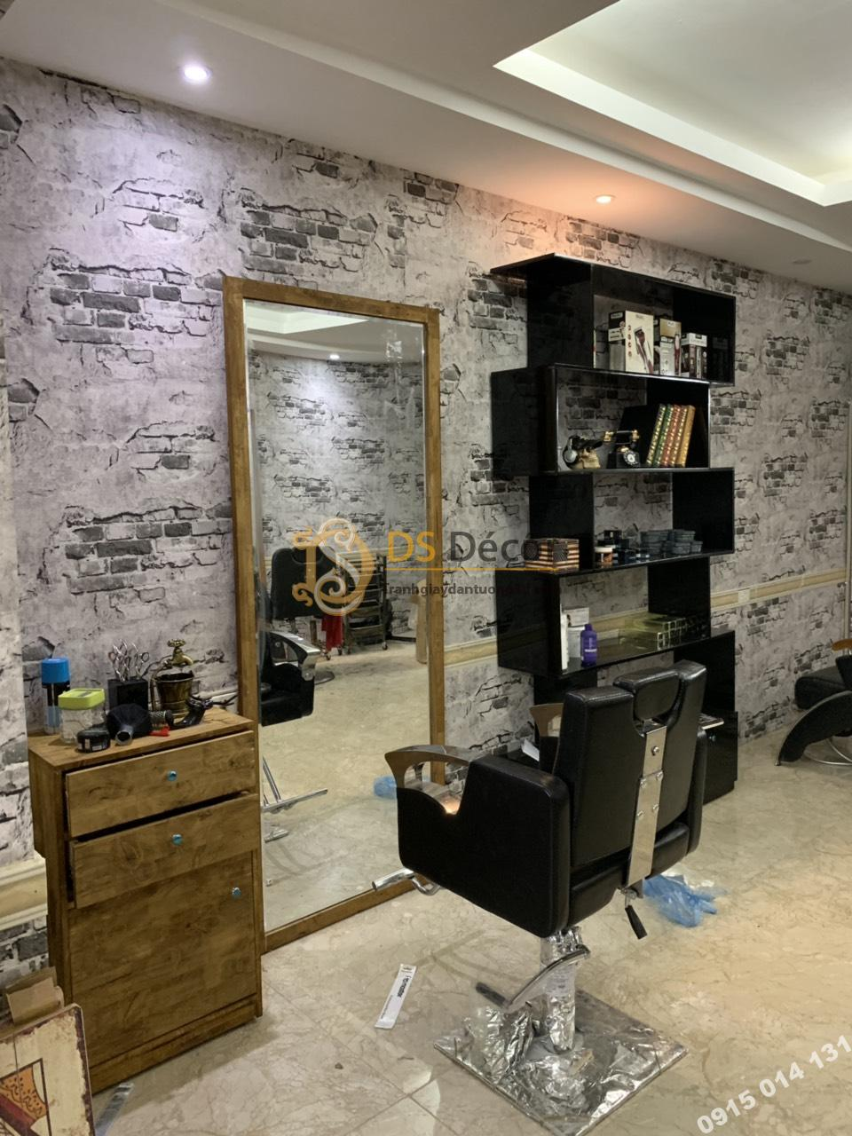 Giấy dán tường giả gạch 3D109 cho tiệm tóc đẹp