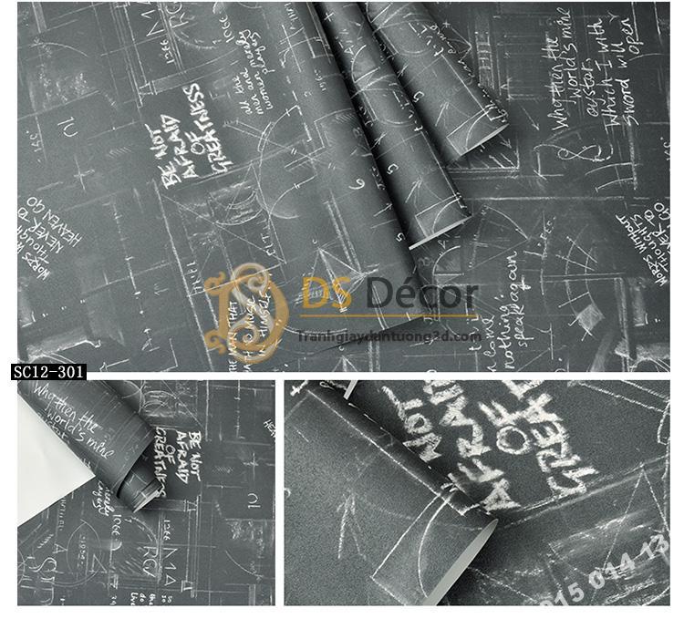 Giấy dán tường họa tiết bảng đen phấn trắng 3D158 mẫu tối