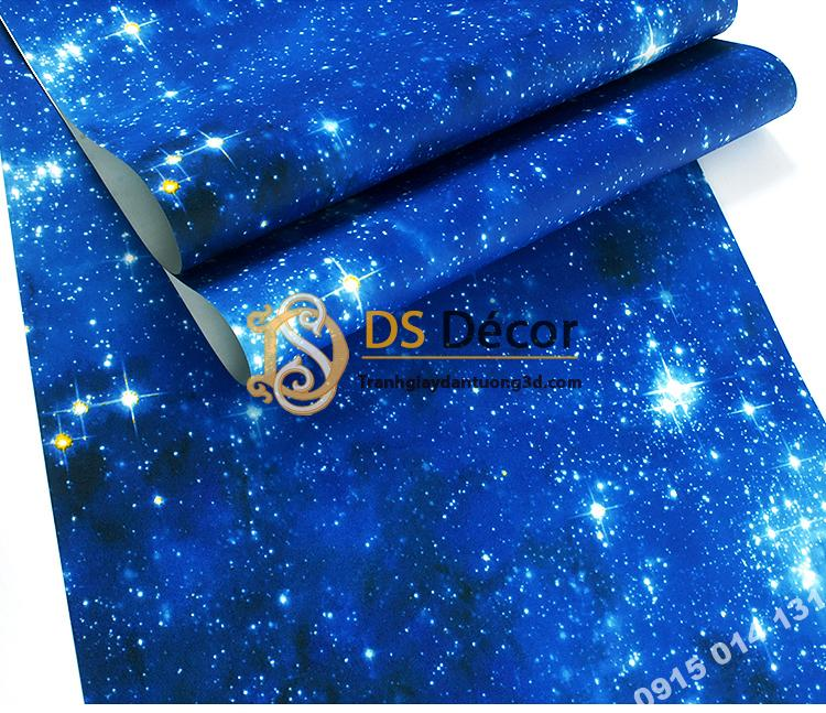 Bề mặt Giấy dán tường trần ngân hà 3D110 màu xanh dương