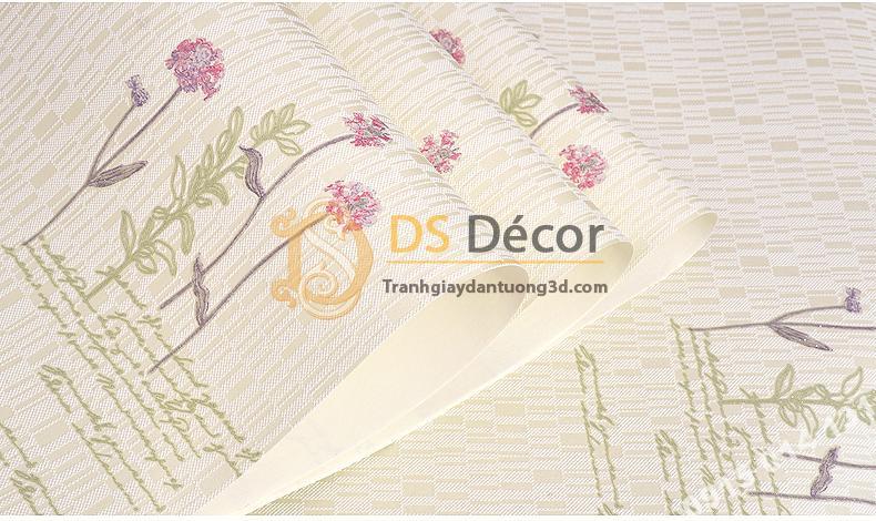 Giấy dán tường vườn hoa màu be và chữ 3D155
